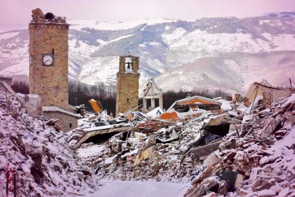 Earthquakes devastate central Italy.