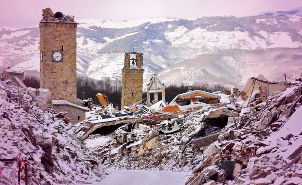 Earthquakes devastate central Italy.