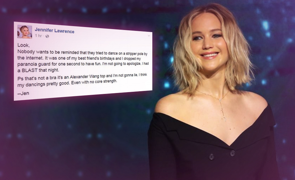 Jennifer Lawrence Will Not Apologize For Having Fun At A Strip Club